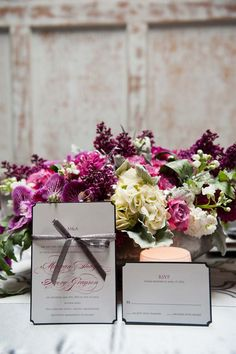 pink and gray invitation from Chic Ink