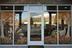 Thanksgiving window decorating ideas with paint | Artistic Murals: window painting/ seasons Spring,Summer, Fall etc.