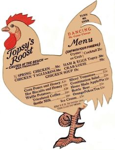 Topsy's Roost Menu from 30´s