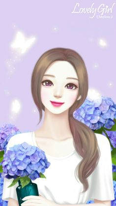 gambar discovered by Geya. Discover (and save!) your own images and videos on We Heart It Cartoon Girl Drawing, Girl Cartoon, Cartoon Art, Cartoon Drawings, Cute Girl Wallpaper, Flower Phone Wallpaper, Anime Korea, Wallpaper Fofos, Lovely Girl Image