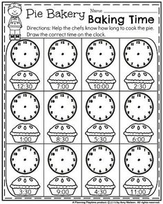 First Grade Worksheets for Fall - Pie Bakery Baking Time. Free Printable Math Worksheets, 1st Grade Math Worksheets, 2nd Grade Math, Grade 1, Summer Worksheets, Second Grade, Free Printables, Math For Kids, Fun Math