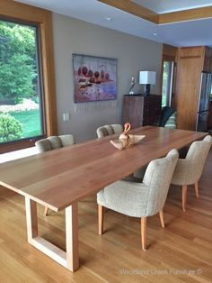 Modern Wood Dining Table made to your exact size by Woodland Creek Furniture. Buy Dining Table, Timber Dining Table, Unique Dining Tables, Contemporary Dining Table, Rustic Table, Wood Table, Dining Room, Table Sizes, Media Cabinets