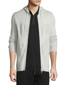 Cashmere-Blend Paneled Full-Zip Hoodie, Sand Heather - Helmut Lang