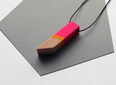 Geometric wooden necklace hot pink sunny yellow by TheiaDesign
