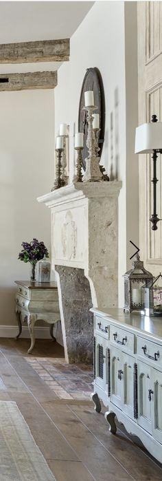 fireplace & beams