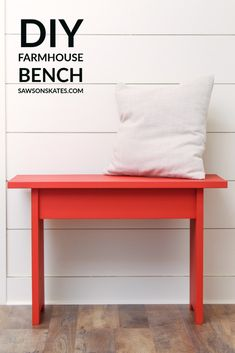 Build a simple DIY farmhouse bench with this free step-by-step tutorial. It's easy to make in an afternoon with only 3 common woodworking tools.