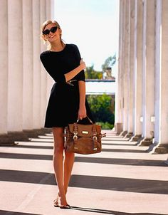 THE black dress! So simple aka can be worn so many ways! Can be easily dressed up or down. Can be worn with tights in colder weather too! Very classic and feminine