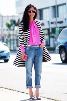 Spring style: bright pink, stripes, and metallic shoes