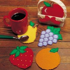 Plastic Canvas Fruit patterns from Leisure Arts. Find it here: http://www.leisurearts.com/products/fruit-basket-coasters-plastic-canvas-patterns-digital-download.html