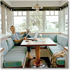 I don't want a traditional kitchen table. When I go to restaurants I only want a booth, so my home should have one too :-)