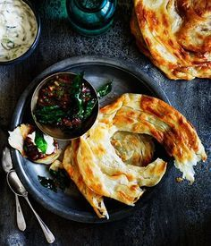 Hot and sour ginger chutney with cucumber yoghurt and roti recipe - Gourmet Traveller