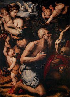 Giorgio Vasari, Temptations of St. Jerome, Art Institute of Chicago Giorgio Vasari, St Jerome, Italian Painters, Impressionist Art, Art Institute Of Chicago, Realism Art, Egyptian Art, Sacred Art, Sketches
