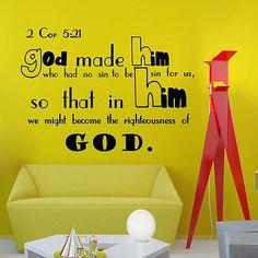 Wall Decal Bible Verse Psalms 2 Corinthians 5:21 God Made Him Vinyl Sticker 3624