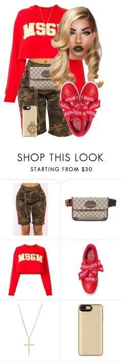 """""""Camo Commotion"""" by chiamaka-ikaraoha ❤ liked on Polyvore featuring KRISVANASSCHE, Gucci, MSGM, Puma, Michael Kors, Mophie and Nixon"""