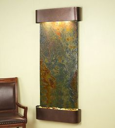 Inspiration Falls with Copper Vein Frame and Rajah Slate - Rajah slate is a beautiful stone with with tones that vary including browns, tans and rust colors.