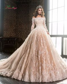 Fashionable Boat Neck Gorgeous Royal Train Long Sleeve Lace Appliques Beading Full A Line Wedding Gown