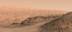 Artist's concept of an astronaut to scale with Murray buttes, Mount Sharp in the…
