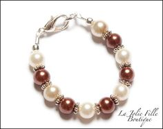 Ecru Ivory and Brown Glass Pearls Pearl Beads Child Girl Baby Newborn Bracelet Wire & Clasp