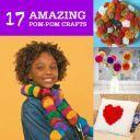 collage of pom-pom crafts
