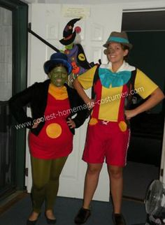 Pinocchio and Jiminy Cricket Couple Costume - best for one tall and one short friend... We came up with being Pinocchio and Jiminy Cricket because we wanted something that was funny for one tall and one short friend.   We bought: 1 yellow