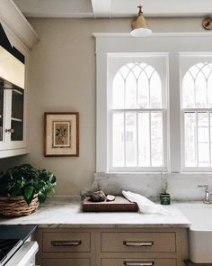 Arched windows in the kitchen