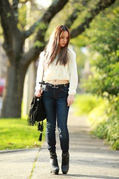 A rock chic look by @chloeting in beige cable knit crop sweater. Own her look here. | Lookbook Store OOTD #LBSDaily