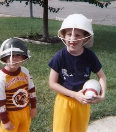Last-minute costume ideas: My boys used straws and a hard hat and plastic Army helmet to dress up like football players. Just add a shirt from your favorite team - quick and easy and they did it themselves!  (This brings back such good memories!)
