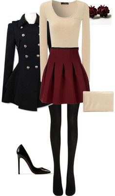 Coat: found on pintrest, back to school, skirt, red skirt, skater ...
