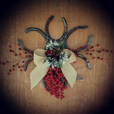 Christmas Horseshoe Wreath by KadysKustomKrafts on Etsy