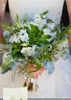 The bridal bouquet will be a loose, wildflower-look of white freesias, white lsiianthus, blue thistles, white veronica, green rosemary, gray dusty miller, green maidenhair fern, green mint, yellow mokara orchids, and green succulents wrapped in ivory ribbon with the stems showing.