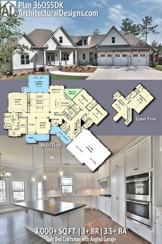 Architectural Designs Craftsman House Plan 36055DK has 3+ BR | 3.5+ BA | 3,000+ Sq.Ft. PLUS an optional Bonus and/or lower level | Ready when you are. Where do YOU want to build? #36055DK #adhouseplans #architecturaldesigns #houseplan #architecture #newhome #newconstruction #newhouse #homedesign #dreamhome #dreamhouse #homeplan #architecture #architect