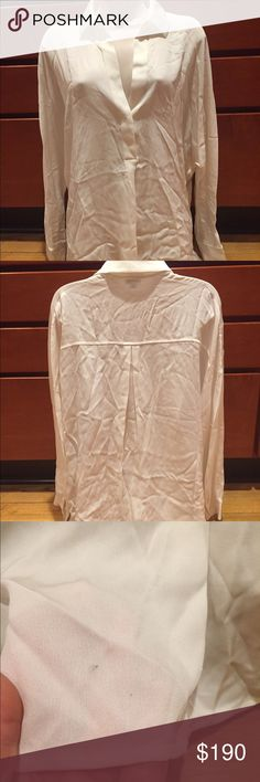 """Vince LS V Neck Popover Blouse Very wrinkled so sorry   Two small marks on the very back bottom if you tuck it in no one would ever know.  93% Silk 7% spandex  the length is 26""""  under the arms laying flat across is about 23""""  slits on the sides  one button at bottom of the V  retails for $285 Vince Tops Blouses"""
