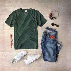 Easy weekend vibes ✌️#saturdaynight  T-Shirt: @nonationality07  Denim: RRL @ralphlauren Shoes: @commonprojects Sunglasses: @moscotnyc for @toddsnyderny Watch/Wallet: @miansai Headphones: @lstnsound