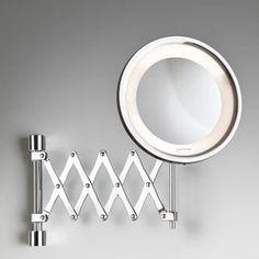 Espelho cosmético de parede com braço sanfonado, iluminação e lente de aumento - Gardie Flex Lux - - CrysBel