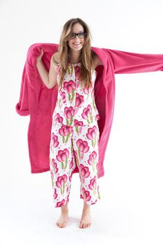"""Pin it to Win it! Mother's Day is just around the corner—how will you show your appreciation this year? Repin this photo of our Happy Poppies Pink Signature Capri pajamas & Fuschia Sheepy Fleece Robe from our """"The Bright Stuff"""" board by midnight on Friday (4/27/12 at 11:59pm EST), and your mom could be relaxing in style. Winner to be chosen at random."""