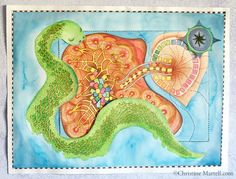 painted map of Art of Personal Story for 2014, http://www.christinemartell.com
