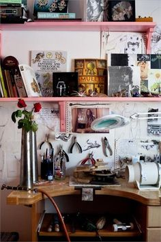 Simple shelving (looks like IKEA?) gets glammed-up with a bright coat of pink paint Pink Shelves, Ikea, Jewellers Bench, Home Studio, Studio Spaces, Inside Home, Bohemian House, Sweet Home, Home Office