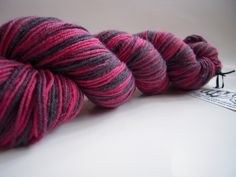 I want this!  716sock80% superwash merino/ 20% nylon Approx. 400 yardsNeedle: 0-2Colorway: It's a good bruiseHxC: black
