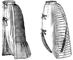 Muslin bustle with removable wires and the 'Estelle' bustle, c.1888.