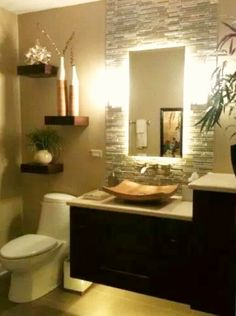 Room Decorating Ideas - Nothing makes guests feel more pampered than a stylish powder room. Here are decorating ideas, design tips and pictures of our favorites. Zen Bathroom Decor, Laundry Room Bathroom, Modern Master Bathroom, Bathroom Design Small, Bathroom Renos, Bathroom Ideas, Bad Inspiration, Bathroom Inspiration, Ideas Baños