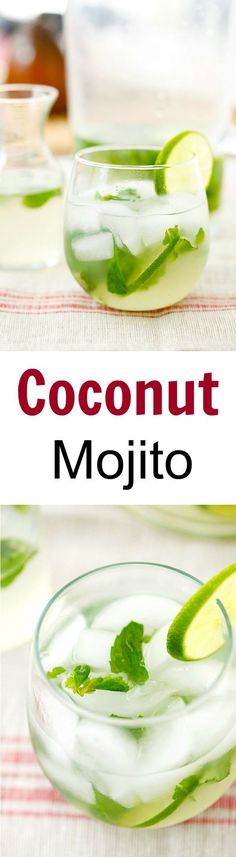 Coconut Mojito - Add tropical flavor to your regular mojito with this easy, healthy and refreshing coconut mojito recipe that takes only 10 mins to make! | rasamalaysia.com #mojitorecipes