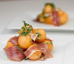 Melon Ball Salad with Mint and Prosciutto / @DJ Foodie / DJFoodie.com