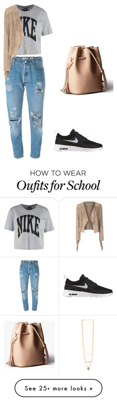 """""""school"""" by amandasteinbach on Polyvore featuring Levi's, NIKE and Glamorous"""