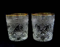 Pineapple Bar Glasses, Set Of 2, Antique Cut Glass, Pressed Glass, 1940s  Vintage Gold Rimmed, Rock Glass, Old Fashioned Cocktail, Retro Bar