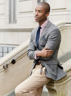 J.Crew men's Ludlow blazer in English tweed, slim Secret Wash shirt in red stripe and broken-in chino in 770 fit.
