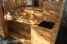 planter boxes stair rails | Cedar Deck with Planter Boxes « EDGEWATER WOODWORK