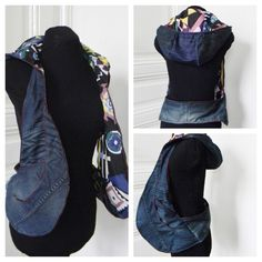 "MRJ's denim hoodie bag.  MRJ Hands-Free Bags by Josephine Raffaella Magno. Place your customized orders to info@mrjstyle.com or submit a form via the online shop's ""contact"" tab.  www.mrjstyle.com >ONLINE SHOP"