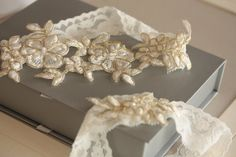 Wedding Lace Garter Set simple light ivory lace garter Product code - Lace Ivory Gold $24.00 on Etsy #bride #accessories
