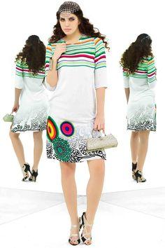 White Cotton Stitched Printed Designer Kurti