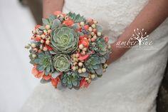 Succulent bouquet, rustic bouquet,bridal bouquet,bridal succulents, wedding scculents, mint and coral bouquet via Etsy